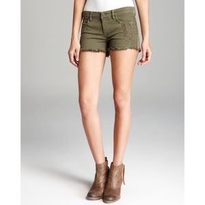 BlankNYC Embroidered Boho Shorts Olive Green sz 31